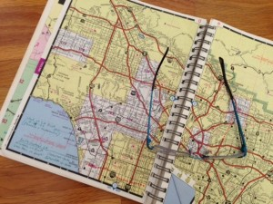 My father's 1986 California Road Atlas with his notes