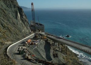 Construction of the rock shed. Image by the California Department of Transportation.