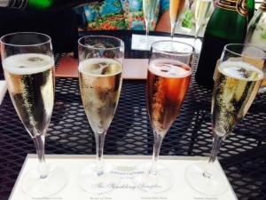 Tasting champagne in Napa
