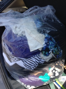 One of many bags of work clothes that we don't need anymore