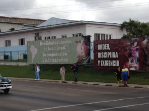 The first of many government-sponsored billboards and murals we saw