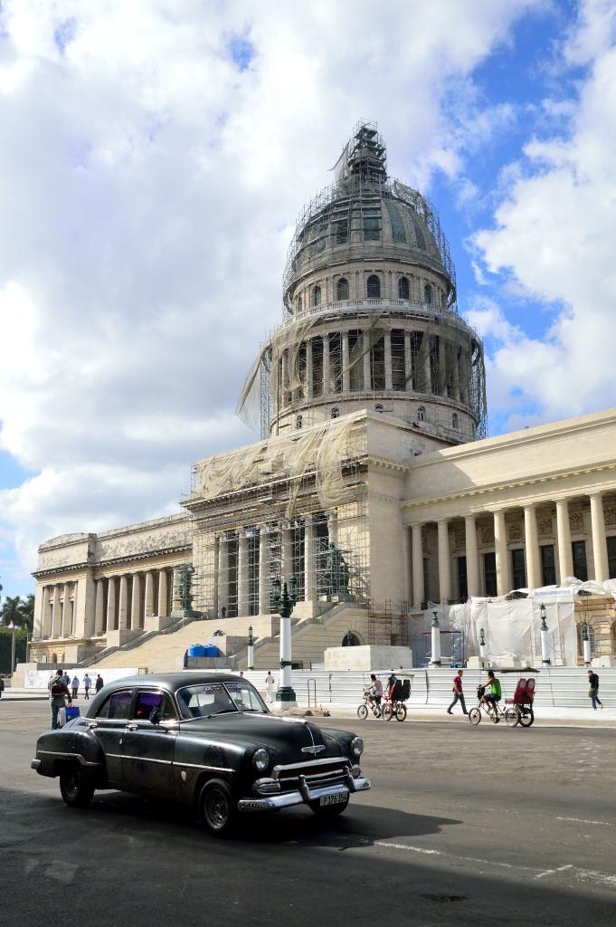 The capitol building under repair