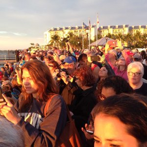 The crowd at Mallory Square gathers to watch the sunset