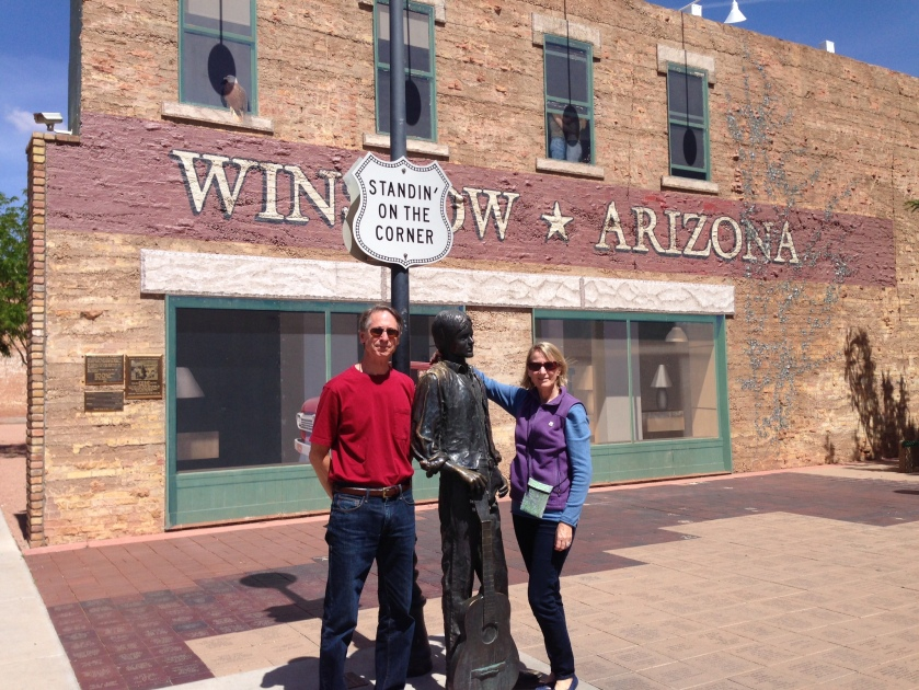 Standing on the corner in Winslow, AZ. We were a fine sight to see.