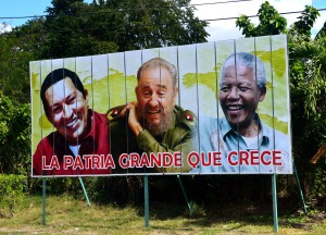 """Political billboards are common in Cuba. This one translates as """"The great homeland that grows."""""""