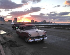Cuba's famous Malecon at sunset