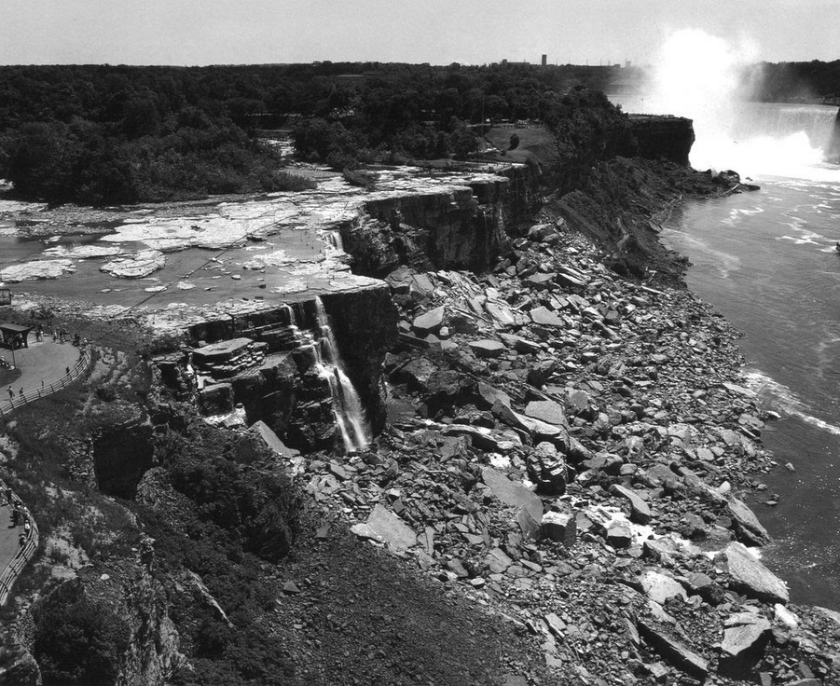 1969 water diversion. Photo credit: Niagara Falls Public Library