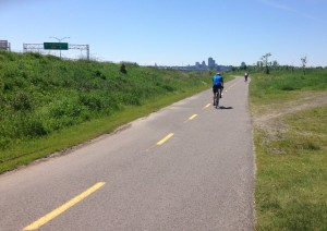 Bike path home with Quebec City in the distance.