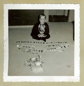 My brother displaying his loot.