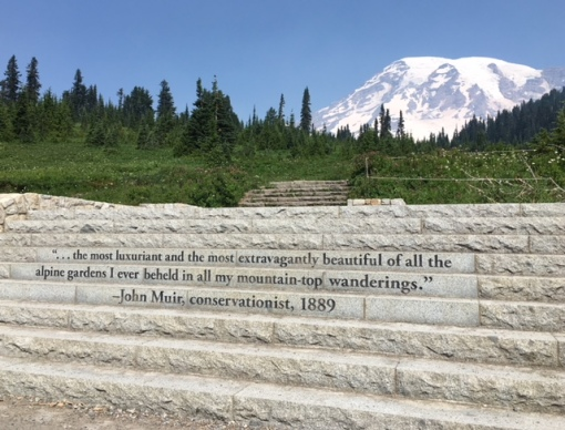John Muir quote welcomes hikers to Mount Rainier National Park
